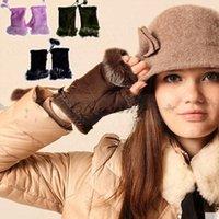Wholesale Fedex DHL Free Beautiful Faux Rabbit Fur Gloves Women Winter Fingerless Multi colored Half fingers Glove Z596