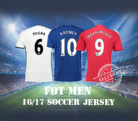 Wholesale Top Thai Quality Soccer Jersey Men Manchester Home Red Away Blue White ROONEY IBRAHIMOVIC POGBA Soccer Jerseys