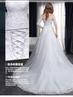Wholesale The spring of the new bride Korean luxury lace shoulder trailing a word cultivate one s morality dress