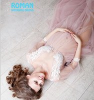 Wholesale Pregnant Slight Tulle Empire Waistline Long Sleeves Illusion Lace Appliqued V neckline Pink Prom Dresses