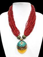 al por mayor collares ámbar-18 '' étnico rojo del grano de múltiples capas collar colgante de plata tibetano de la flor de ámbar oyzz-0014