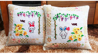 Wholesale Cute Rabbit Ribbon Cross Stitch For Women Girls D DIY Stitching Pillow Case Unfinished Fancy Gift