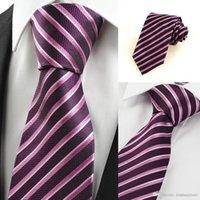 Wholesale 20Pcs Ties Men Neckties Striped Ties for Men Luxury Striped Purple JACQUARD Men Tie Necktie for Formal Wedding Bussiness Party