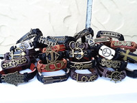 Wholesale mixed fashion men s women s leather and copper alloy cuff bracelets many different styles