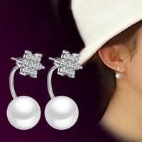 2016 Moda de regalo de Navidad de nieve afortunada perla Pendientes de perlas de cristal Método de doble desgaste Diseño de plata esterlina 925 plateado pendiente para las mujeres