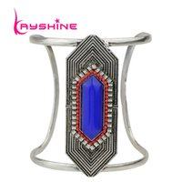 antique gemstone bangles - Indain Jewelry Antique Silver Big Open Cuff Bangles Colorful Created Gemstone Square Geometric Bracelets For Women
