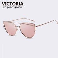alloy beams - 2016 new Fashion summer Sunglasses Women Cat Eye Sunglasses Famous Lady Brand Designer Twin Beams Sunglasses Coating Mirror Glasses UV400