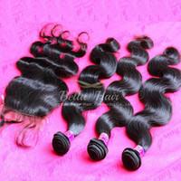 Cheap Brazilian Body Wave Bundle Hair With Silk Base Weaves Closure Unprocessed Virgin Human Hair Extensions 4pcs Lot Bellahair 7A