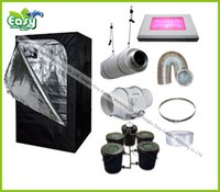 Wholesale Hydropoinics Complete indoor grow tent kits X150X200cm with DWC bucket LED grow light and ventilation equipment