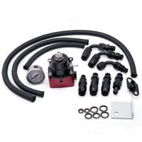Wholesale Tansky Universal Adjustable Fuel Pressure Regulator Kit Oil psi Gauge Universal Black Red AN Fit Oil cooler kit TK mgte