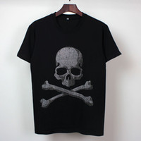artificial diamonds - mens t shirts fashion Artificial diamond skull d t shirt men Hip Hop Men T shirt Casual Hip hop Fashion Cotton T Shirt