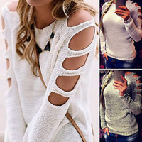 Wholesale Cut Out Knit Sweater - 2016 Women Cut Out Long Sleeve Jumper Pullover Tops Ladies Casual Knitwear Sweater