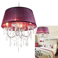 Wholesale Modern vintage K9 Crystal chandelier Ceiling light Fashion pendant light with fabric shadeFor Foyer living room bedroom dinning room