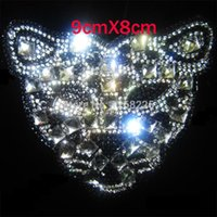 Wholesale Diy Leopard head Pattern Heat Transfer Design Iron Hotfix Rhinestone patches Hot fix ss Stone fashion decoration for Clothing