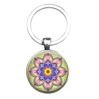 Wholesale Mandala Buddhist Sacred Geometry Key Chain Yoga jewelry Glass Keychains Handmade Bag Gift Wrapped keychain