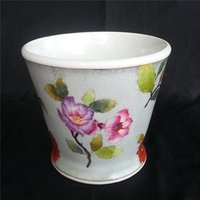 Wholesale totally hand drawn flower pots ceramic Planters Table Plant Pots and Plate Gardening Vase Plant Nursing Pot