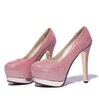 Wholesale New Fashion Women s Pumps Elegant Round Toe Platform Stiletto Heel Pumps Partying Wedding Shoes Woman