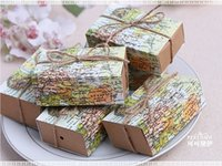 Wholesale 2016 World map Wedding Favors Candy Boxes Gift Box Sugar Candy Box with Burlap