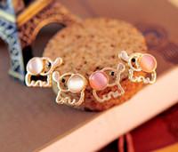 baby stud earrings - Fashion Lovely Cute Baby Elephant Opal stud earrings women Statement earrings for party