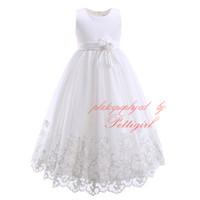 Compra Vestido de longitud completa niñas-Pettigirl nuevo vestido de bola de alta calidad blanco para las niñas de moda de impresión floral vestido de fiesta de larga duración con flores vestido de novia de las niñas