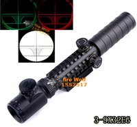aims scopes - Hunting X32 Red Green Illuminated Rifle Scope Optics Sight Outdoor Hot Airsoft Gun Sight Focus Aim Rail On Sale