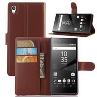 para Sony Xperia Z5 de moda del teléfono celular de cuero de la cubierta del caso del tirón de la PU de 1: 1 Diseño de soporte de la carpeta de la vendimia titular de la tarjeta con cierre magnético