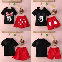 baby boys dress shirts - DHL Baby Boy Girls Kids Summer Mickey Mouse Clothes Sets T shirt Dress Pants Outfit Sets Children Cottton Hooded Clothing Suits SD B01