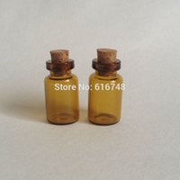 Wholesale 100PCS ml amber glass bottles cork stoppers small glass jars glass vials with corks lids tiny glass bottle small empty bottles