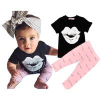 achat en gros de filles chemises lèvres-Jeu de vêtements pour bébés Ensemble d'été pour les lèvres Jeu de vêtements pour les filles Ensemble pour les filles pour les enfants T-shirt d'été + Cils pour les cils 2016 Vêtements pour la mode pour bébé