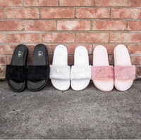 ladies slippers - 2016 New Rihanna Leadcat Fenty Slippers Ladies Rihanna Leadcat Fenty Faux Fur Slides Sandal Famous Fenty Slides Rihanna Black