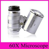 60X de mano joyero de la lupa Mini Lupas microscopio con luz LED de aumento de la joyería de la joyería Lupas lupa vidrio Envío gratuito