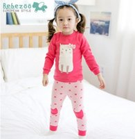 beer brand clothing - Korean Brand Clothes Beer Bow Long Sleeve Tops Cartoon Cat Tights Autumn Cotton Wear Children Clothing Sets Cute Kids Outfits