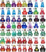 Wholesale Cape Styles - 120 Styles Double Side kids Halloween Cosplay Costume Superhero Capes With Masks Batman Spiderman Turtles Flash Supergirl Batgirl Pikachu
