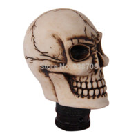 Wholesale Skull Shift Knobs Manual - Resin Human Carved Skull Head Car Gear Shift Knob Shifter Lever Universal Fit Manual Transmission L2105