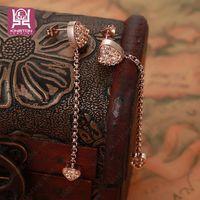 bespoke wedding gifts - bespoke Diamond Earrings love rose gold earrings Korean style jewelry lady long chain