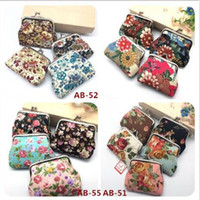 baby gift packages - Women Girls Vintage Flower Coin Purse Canvas Package Baby Girls Beautiful Mini Coin Bag Kids Printed Clutch Handbag for Xmas Samll Gift