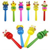 Wholesale Baby Kids Children s Educational Toys Cartoon Wooden Rattle Children Toys A00007 BRE
