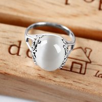 american retro jade jewelry - Jimei silver jewelry jade pulp agate ring female fashion retro palace opening simple ring shipping