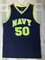 Wholesale yingyuanFang David Robinson Navy College Basketball Jersey Stitched All Sewn White Navy blue S XXL