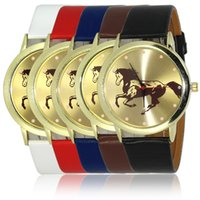 auto glass shop - Free shopping New Fashion Leather Watchband quartz glass mirror horse watches colors