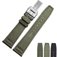 Wholesale 20mm mm mm High quality Solid Stainless Steel Buckle Nylon Strap Green Leather Bottom For IWC Pilot s Watches and Portugieser watches
