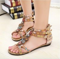 band nation - SUMMER STYLE Flat Sandals Ankle T strap Fashion Trend Sandals Bohemia Nation Flat Beaded sandals Hot sale