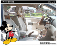 Wholesale 10pcs unit Auto Accessories Brown Mickey Mouse Cartoon Car Upholstery Steering wheel cover pillow set cover Universal Automotive interior