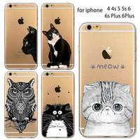 al por mayor iphone animales de silicio-Caja del teléfono para el iPhone de Apple SE 5C 6 6S 6plus 6s Plus Soft TPU de silicona transparente delgada cubierta linda del gato Caso animal del búho