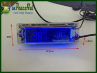 Wholesale Auto V V Digital Car indoor and outdoor Thermometer temperature blue amp orange backlight AK