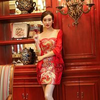 Wholesale 2016 new fashion women s ethnic clothing chinese style vintage sexy wedding bra dresses red cheongsam Embroidery flowers hot