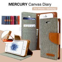 apple canvas - MERCURY Canvas Diary Wallet Case Card Slots Case For Iphone s plus Samsung Galaxy S7 S6 Edge NOTE retailpackage