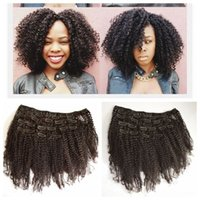 Wholesale Clip In Human Hair Extensions Brazilian Kinky Curly Human Hair inch clip in hair