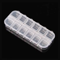 Wholesale 12 cells Nail Art Storage Box Detachable Clear Plastic Home Nail Art Empty Divided Boxes