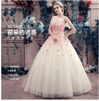 Wholesale Wedding dresses large color code by hand wipes bosom bride flowers pregnant women together to show thin dress wedding dress the bride